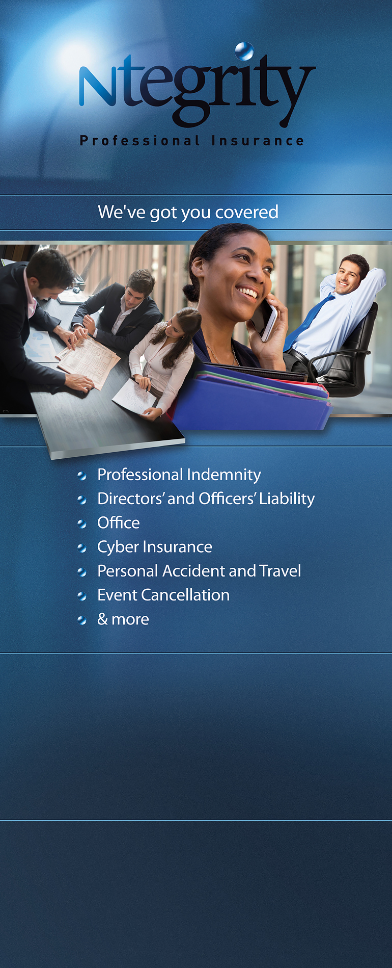 image of a Ntegrity Professional Insurance banner stand