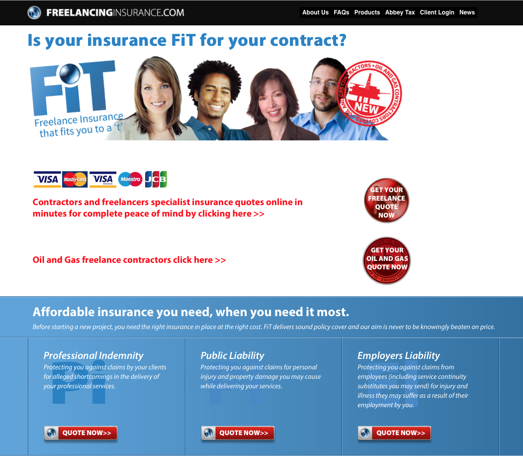 image of the homepage of www.freelancinginsurance.com homepage for Ntegrity Professional Insurance