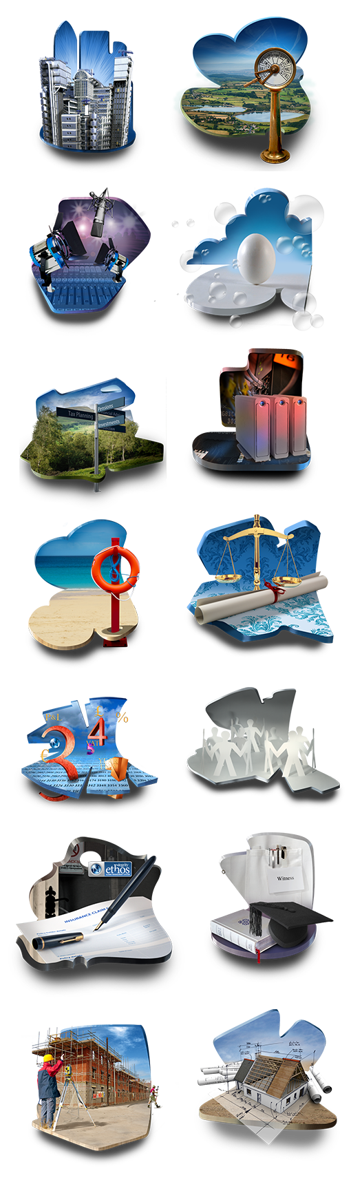 Various 3D style images for the Ntegrity Professional Insurance website