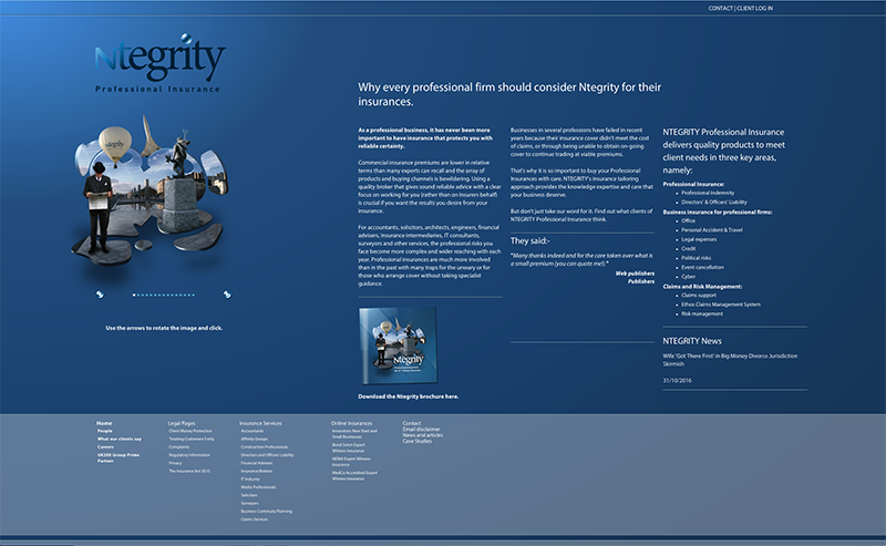 image of the Ntegrity Professional Insurance homepage