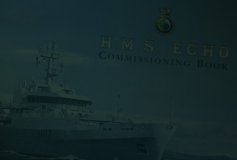 background image of the Commissioning Book cover for HMS Echo